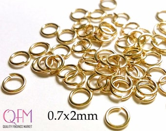 WHOLESALE Gold Filled Jump Rings 0.7 x 2mm , Hard Snap Jump Rings, Locking Jump Rings, Jump Rings 21 Gauge