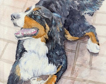 Bernese Mountain dog - watercolor art print mounted on wood panel - ready to hang