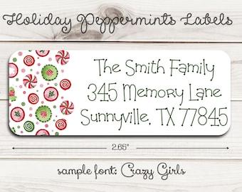 Holiday Peppermints Return Address Labels