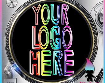 "Custom Logo or Text Turntable Slipmat - 12"" LP Record Player, DJ Slipmat- Personalized 16oz Felt w/ Glazed Bottom"
