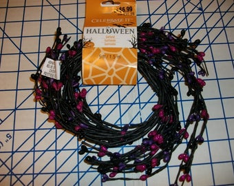 Halloween flexible wire garland black purple pink glitter