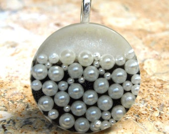 Pearl Necklace, Tuxedo Pearl Necklace, Black & White Pendant, Pearl Jewelry, Resin Pendant, Pearl Necklace,  Exclusively at ResinHeavenUSA