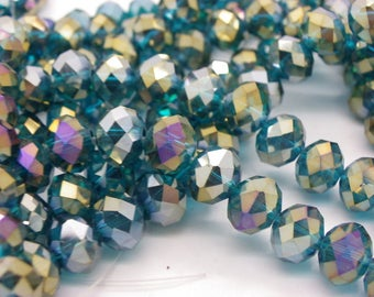 35 beads 10 mm abacus crystal glass has faceted amber blue green glossy