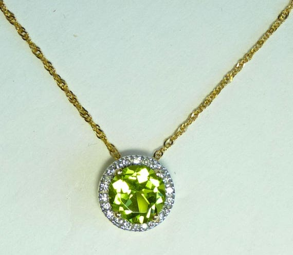 DIAMOND PERIDOT NECKLACE ~ 14K Gold Pendant and Chain Necklace ~ Halo Setting ~ Gorgeous Peridot Surrounded by Sparkling White Diamonds