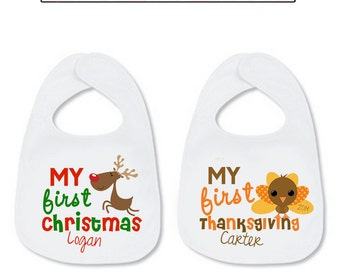 My First Christmas Bib My First Thanksgiving Bib SET Personalized with Name Reindeer Turkey Baby Infant Reindeer