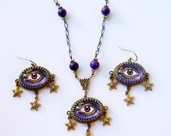 Mystic Eye set - Psychic necklace and earring set - Fortune teller eye necklace - Mystic eye jewelry, Purple Evil Eye Protection