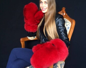 Fox Fur Mittens All Fur Gloves Regular Women's Size Saga Fox Red
