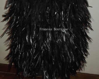 Free shipping above-knee length rooster straight hackle feather skirt for party, show, ball #SKT15023