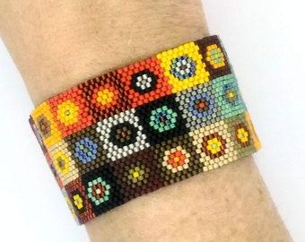 Kandinski Inspired Patchwork Peyote Cuff Bracelet