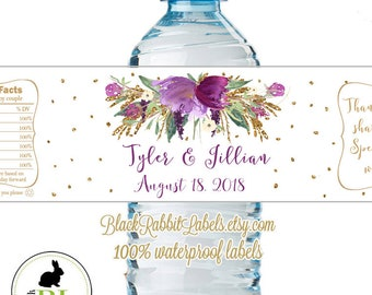 "Personalized Water Bottle Labels - 100% Waterproof Polyester Labels - Wedding Favors 2""x8.5"" self-stick labels - Purple Bouquet Faux Gold"