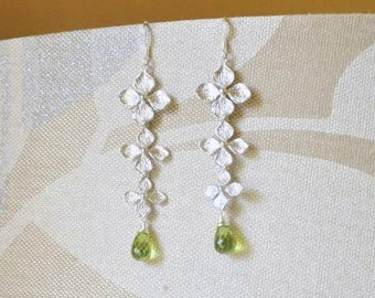 Silver Hydrangea Earrings -Peridot Gemstones Earrings/Silver Earrings/Peridot Earrings/ Silver Long Earrings/ Feminine Earrings/ Dainty