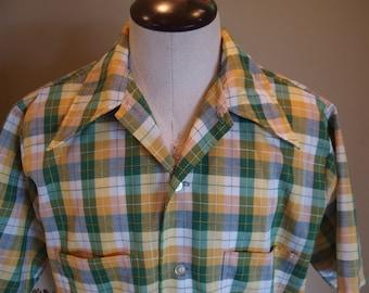 70s short sleeve summer yellow green plaid cotton shirt Medium
