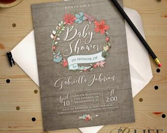 April Showers Bring May Flowers Baby Shower Invitation Digital Printable Professionally Printed DIY No. I271