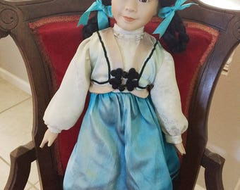 """Marian Yu Designs, Beautiful Porcelain Asian Doll 20 1/2"""" Inches Tall On Stand"""