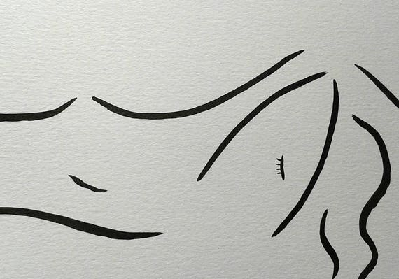 Line Drawing Face Woman : Minimalist line art nude black ink brush drawing female