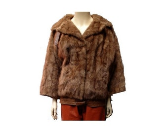 1960s french Mink Fur and  leather Jacket // size eu 38 -uk 10 - us 6
