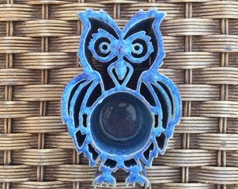 Handmade Ceramic Pottery Owl Candle Holder - Decor - Blue, Purple Glaze