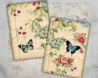 Greeting Cards 2.5x3.5inch - Digital Collage Sheet - Printable Download - Craft Supply - Instant Download - BUTTERFLIES