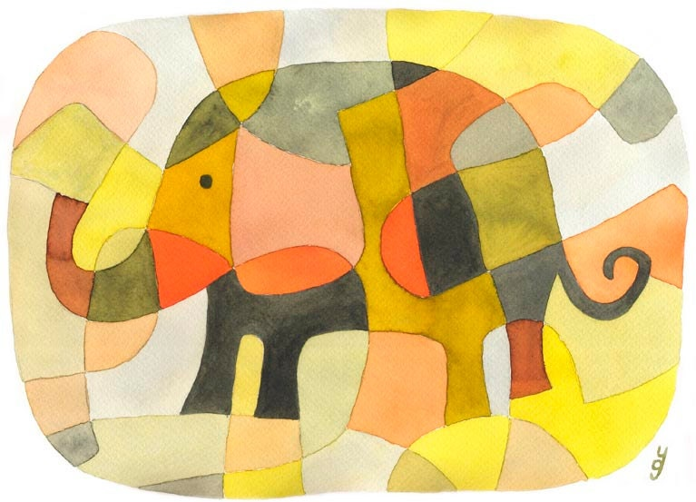 Elephant 1 BIG Mid Century Modern Art Print Poster Nursery