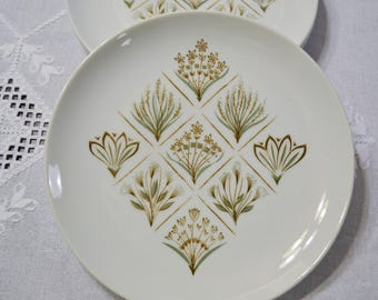 Vintage Garden Terrace Dinner Plate Set of 3 Harmony House Flowers Leaves Green Brown Replacement PanchosPorch