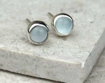Aquamarine Silver Studs | March Birthstone Studs | Aquamarine Cabochon Studs | Silver Aquamarine Studs | March Birthday Gift | Alison Moore