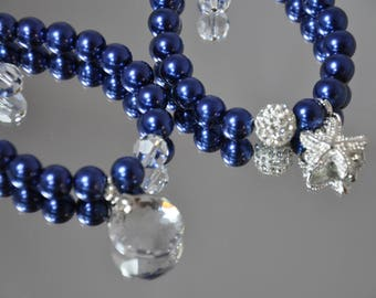 Nautical Blue swarovski pearl & sterling silver bracelet set