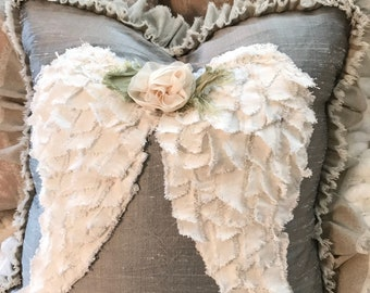 One 20/20 pillow slip / wings/ white canvas wings/ canvas back