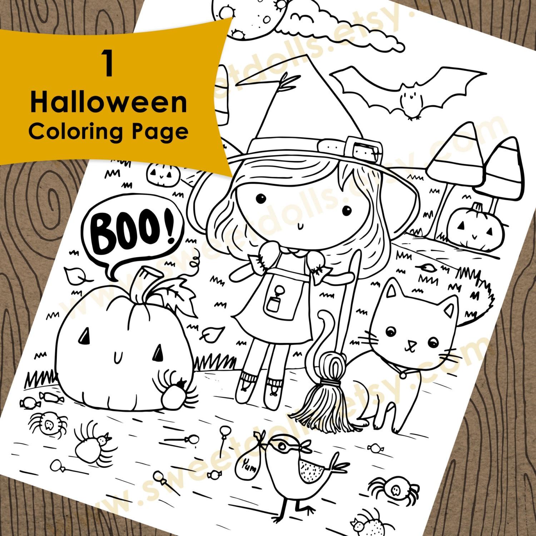 1 süße Halloween Färbung Seite herunterladbare Malvorlagen