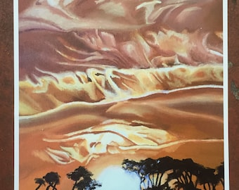 Orange sunset dust painting print acrylic art outdoorsy with unique clouds and trees