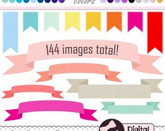 Blog Banner Clip Art, Digital Ribbon Banner, Flag Clipart, Graphics