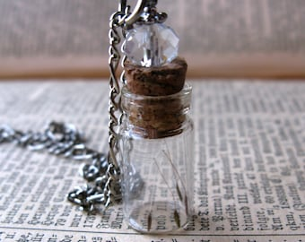 Dandelion Seed Glass Bottle Necklace - Dandelion Seeds in Tiny Vial -  Pressed Flower Jewelry - Glass Bottle Pendant - Botanical jewelry