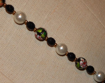 Vintage Cloissone Flower Bead Necklace Black White Pink Flower Painted Bead Long Necklace