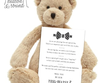 """Will you be my ring bearer - """"ring bear"""" card. wedding, bride, invitation."""