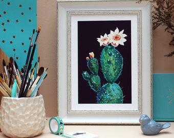 Prickly pear cactus Opuntia  - A4 print