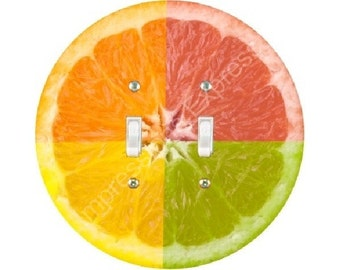 Funky Grapefruit Fruit Double Toggle Switch Plate Cover