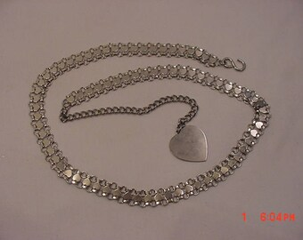 Vintage Silver Metal Hearts Adjustable Belt   18 - 4