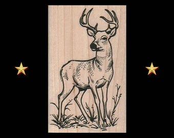 DEER Rubber Stamp, Deer Stamp, Deer With Antlers Rubber Stamp, Buck Stag Head Male Deer Rustic Sketch Illustration Deer Trophy Forest Animal