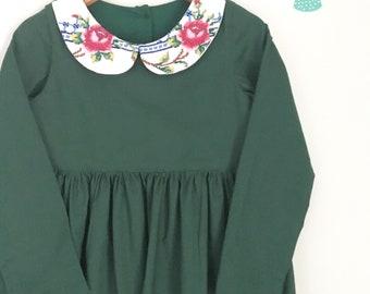 Size 5 Forrest Green Vintage Collar Dress