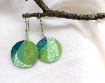 Green and blue collage paper earrings