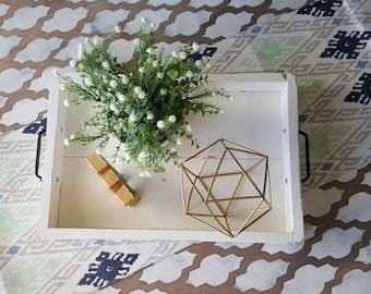 Exceptional Shabby White Coffee Table Tray, Home Decor, Ottoman Tray, Shabby Chic  Serving Tray