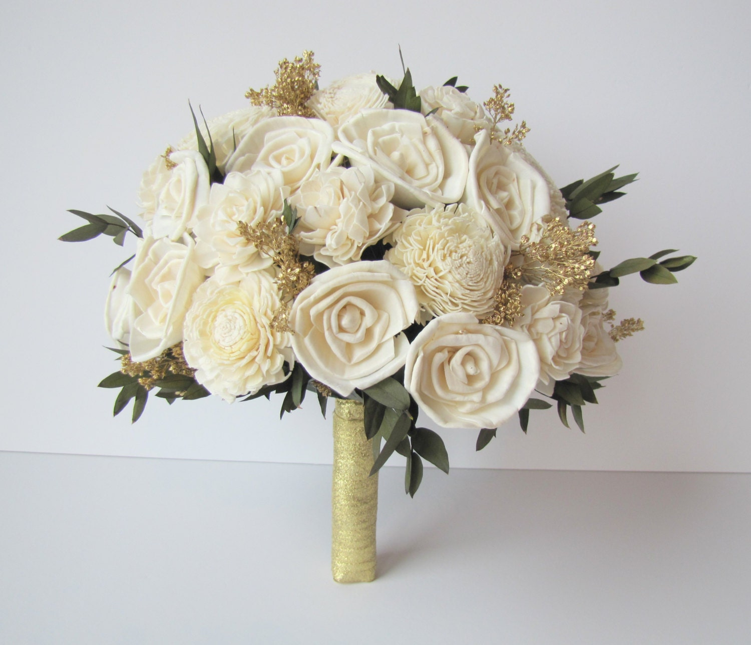 Ivory and gold bridal bouquet brides flowers bridal bouquet ivory and gold bridal bouquet brides flowers bridal bouquet keepsake wedding bouquet large bridal bouquet new years wedding izmirmasajfo