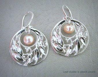 Sterling Silver Leaf Cluster Hoop with Pearl Earrings