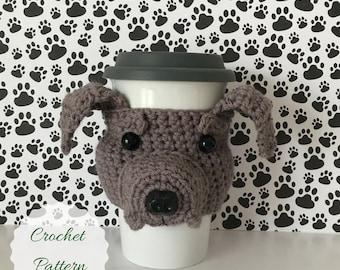 Crochet Dog Pattern, Mug Cozy Pattern, Crochet Pattern Dog, Crocheting Patterns, Amigurumi Patterns, Amigurumi Dog, Crochet Pattern, Pitbull
