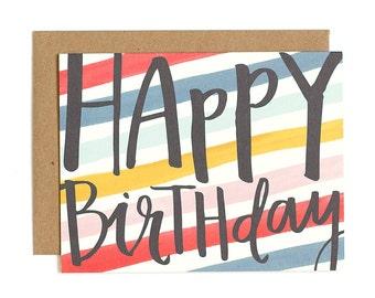 Happy Birthday Stripes Illustrated Card // 1canoe2