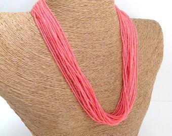 Coral necklace, statement necklace, boho,chunky necklace, beaded necklace seed bead necklace,pink necklace,rose necklace,bridesmaid necklace