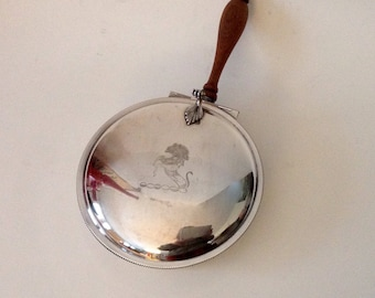 Vintage Crumber Silver Plate Silent Butler Ash or Crumb Tray with Wooden Handle and Horse Design, EPC 300
