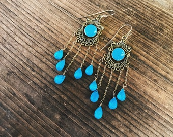 Turquoise Chandelier Earrings // Turquoise Earrings // Bridal Earrings // One of A Kind // Sleeping Beauty Turquoise // Gold and Turquoise