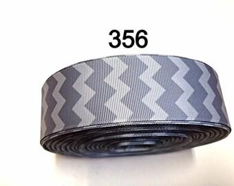 "3 yard - 1.5""  Gray Chevron Grosgrain Ribbon For Hair bow Craft Supply"