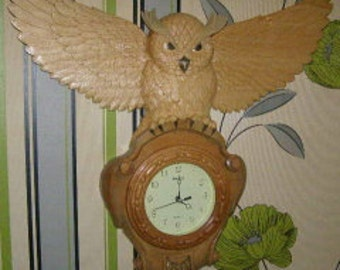 Clock Wall Carved OWL