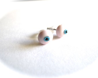 Pink Evil Eye Stud Earrings